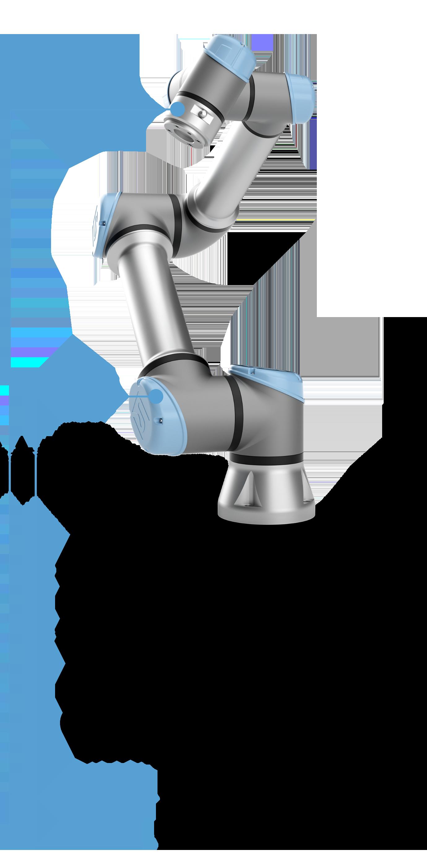 カ/トルクセンサを内蔵 17種類の安全機能すべてがEN ISO 13849-1のカテゴリ3、PL dに対応(TUV NORD認証) EN ISO 10218-1に準備(TUV NORD認証) 簡単に交換可能なジョイント