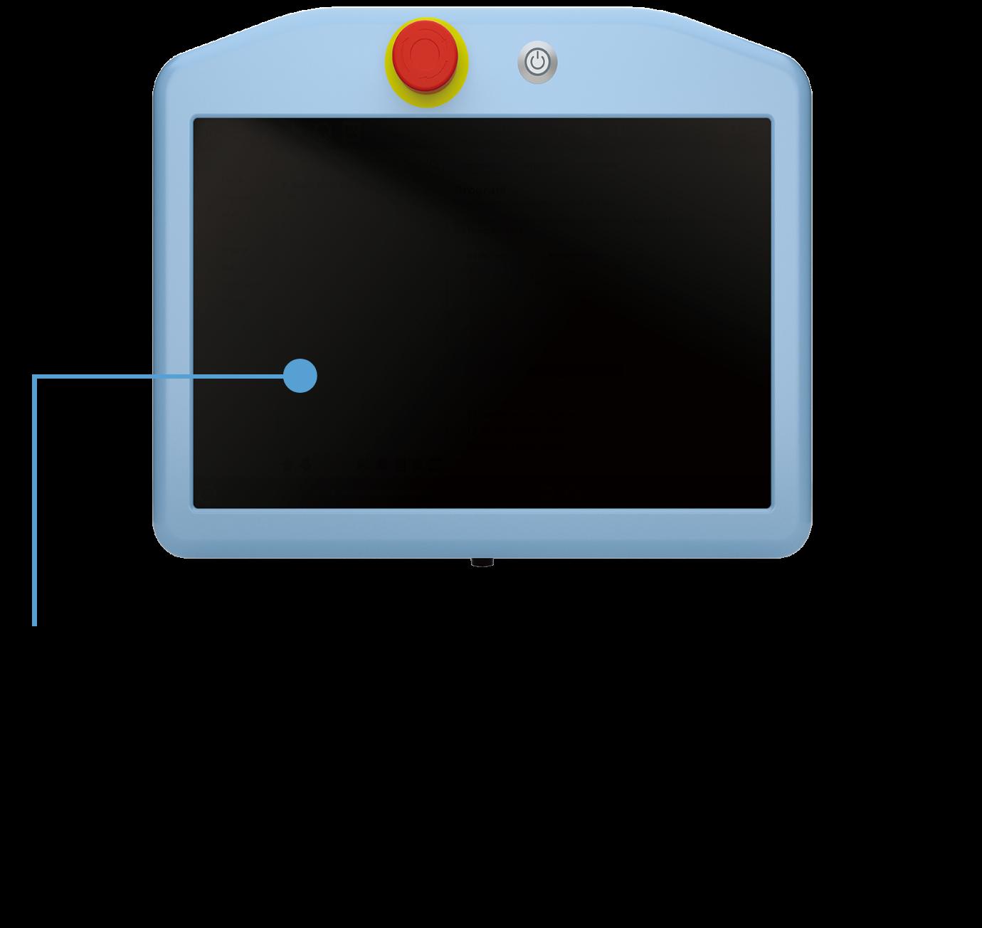 直感的なプログラミングフロー 軽量で応答性に優れたティーチペンダント細径ケーブル、ワイドスクリーン 停止時間と停止距離の調整が可能